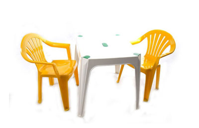 Yellow chairs & table