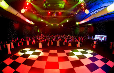 Sensational look of black and white dance floor at Gala Ball